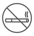 no smoking line icon forbidden and prohibited no vector image vector image