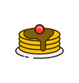pancake stack color outline icon vector image vector image