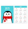 penguin wearing red scarf merry christmas simple vector image vector image