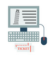 pisa tower on computer and ticket vector image vector image