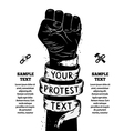 Raised fist held in protest vector image vector image