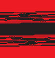 red line circuit futuristic technology on black vector image vector image