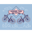 retro bicycle with basket and text summer vector image vector image