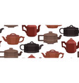 seamless texture with brewing clay chinese teapots vector image