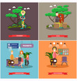 set of tourist posters banners in flat vector image vector image