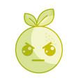 silhouette kawaii cute angry orange fruit vector image vector image