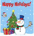 Snowman cartoon vector image vector image