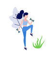sportive slim girl doing exercise with dumbbells vector image