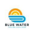 sun beach logo design vector image vector image