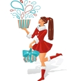 The girl is holding a gift vector image
