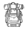 tourist backpack engraving vector image