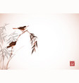 two little birds sitting on bamboo branch vector image vector image