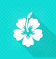 white hibiscus flower flat icon vector image vector image