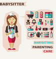 Profession of people Flat infographic Babysitter vector image