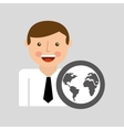 happy man icon global social network design vector image