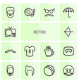 14 retro icons vector image vector image