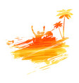 abstract painted splash shape with silhouettes vector image vector image