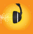 abstract sound wave with headphone and halftone vector image