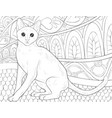 adult coloring bookpage a cute cat on the vector image vector image