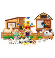 animal farm with two kid isolated vector image