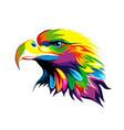 bald eagle head portrait from multicolored paints vector image
