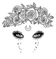 black and white drawing beautiful eyes vector image