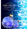 Blue background with Christmas balls vector image vector image