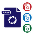 blue raw file document download raw button icon vector image vector image