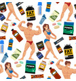 bodybuilders gym athlete seamless pattern vector image