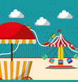 carousel chair roller coaster and food booth vector image vector image