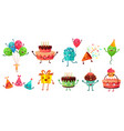 cartoon birthday celebration set party balloons vector image vector image