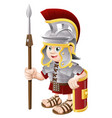 cartoon roman soldier vector image vector image
