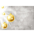 Christmas Background with Golden Baubles vector image vector image