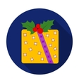 Christmas gift with holly berry icon in flat style