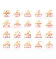 circus tent simple color line icons set vector image