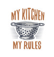 colander or utensils cooking stuff for menu vector image vector image