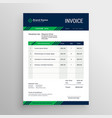 creative blue and green invoice template design vector image vector image