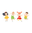 cute children happily jumping joyful boys and vector image vector image