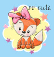 cute fox girl on a blue background vector image vector image
