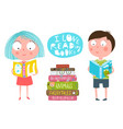 cute kids boy and girl reading books vector image vector image