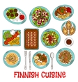 Finnish national cuisine dishes set vector image