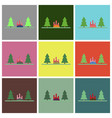 flat icons set bonfire in forest vector image