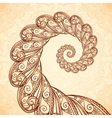 fractal spiral in henna tattoo style vector image