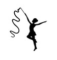 girl gymnastic sport silhouette sportswoman ribbon vector image