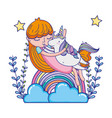 girl hugging unicorn with rainbow and branches vector image vector image