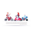 group of people riding different motorcycles vector image