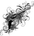 guns on flower and vector image