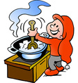 Hand-drawn of an Happy Christmas Elf cooking Food vector image vector image