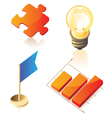 Isometric icons of business symbols vector image vector image
