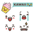 kawaii funny minimalistic emojis isolated cartoon vector image